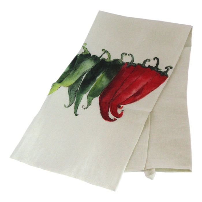 Teatowel Off White Soft Washed Linen with Pepper Print  Teatowel - PasParTou