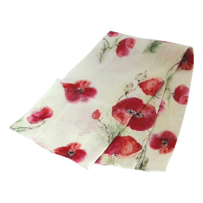 Teatowel Off White Soft Washed Linen with Poppy Print