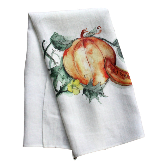 Teatowel Off White Soft Washed Linen with Pumpkin Print