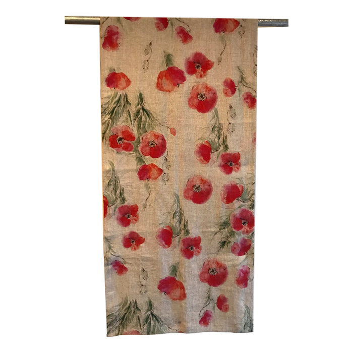 Runner - Softwashed Linen - Natural Poppies  runners - PasParTou
