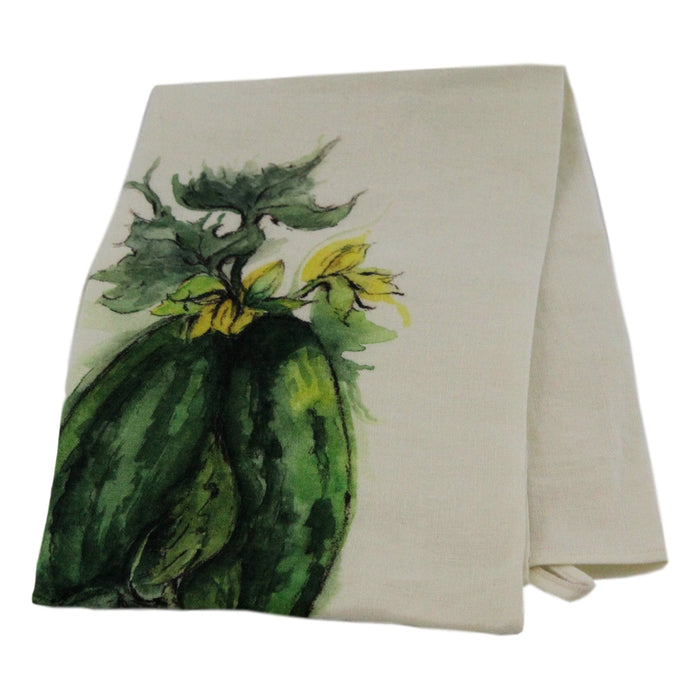 Teatowel Off White Soft Washed Linen with Squash Print