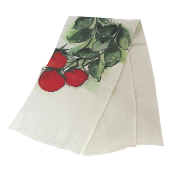 Teatowel Off White Soft Washed Linen with Tomatoes Print