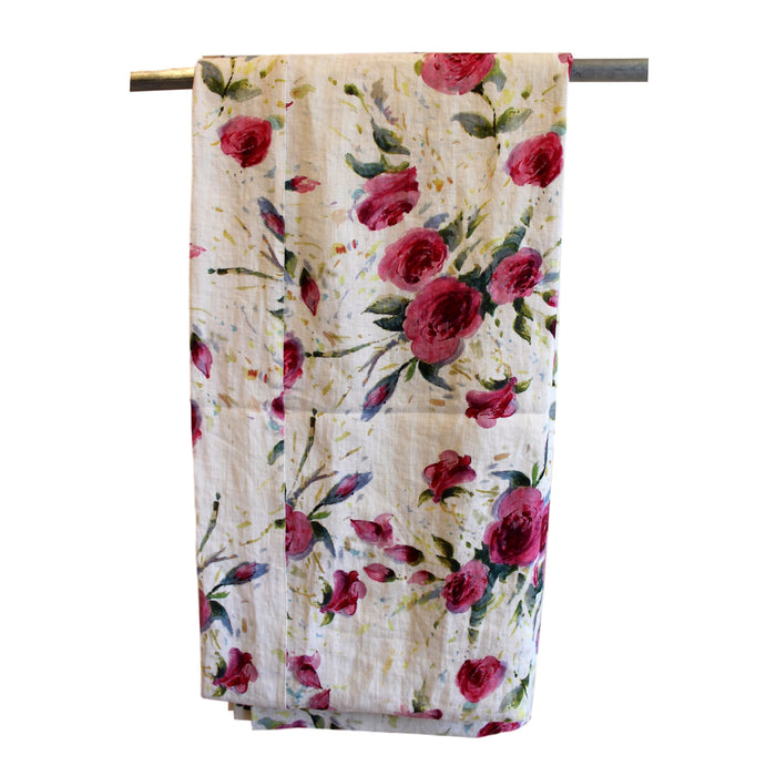 Tablecloth - Softwashed Off White Linen Rose Pattern  tablecloth - PasParTou