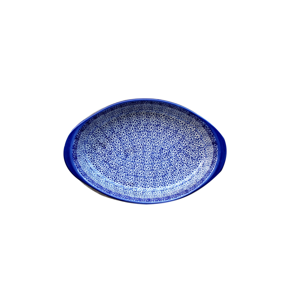 Blue Spatter - Medium Oval Baker - Pas-Par-Tou