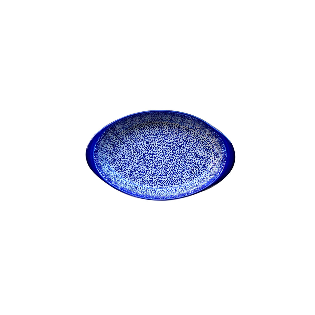 Blue Spatter - Small Oval Baker  Polish Ceramics - PasParTou
