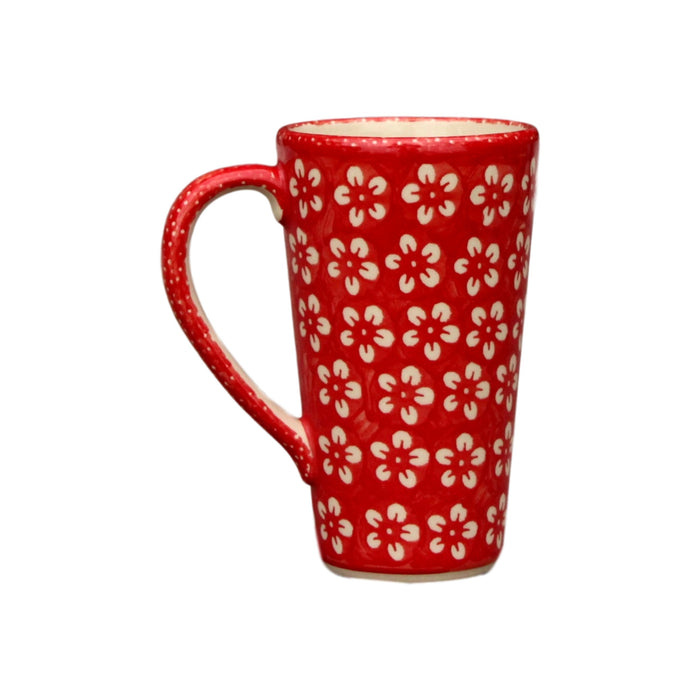 Red Flowers - Tall Mug  Polish Ceramics - PasParTou