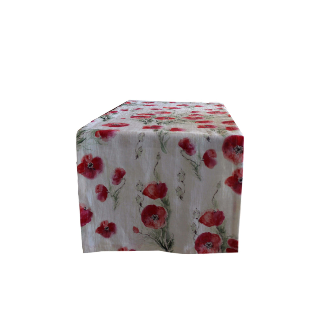 Runner - Softwashed Linen - Off White Poppies