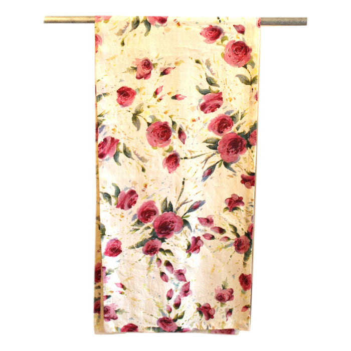 Runner - Softwashed Linen - Off White Roses