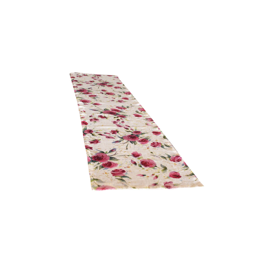 Runner - Softwashed Linen - Off White Roses  runners - PasParTou