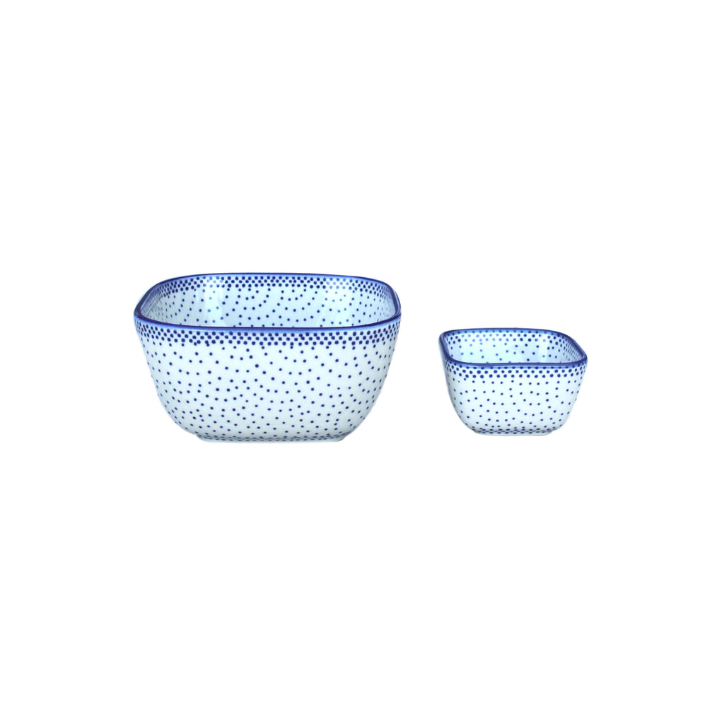 Tiny Blue Dots - Large Square Bowl - PasParTou