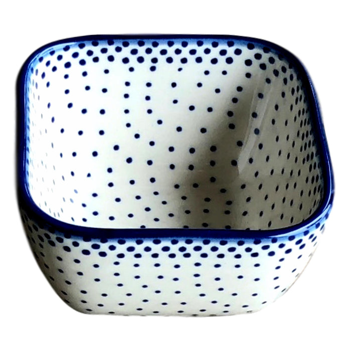 Tiny Blue Dots - Small Square Bowl  Polish Ceramics - PasParTou