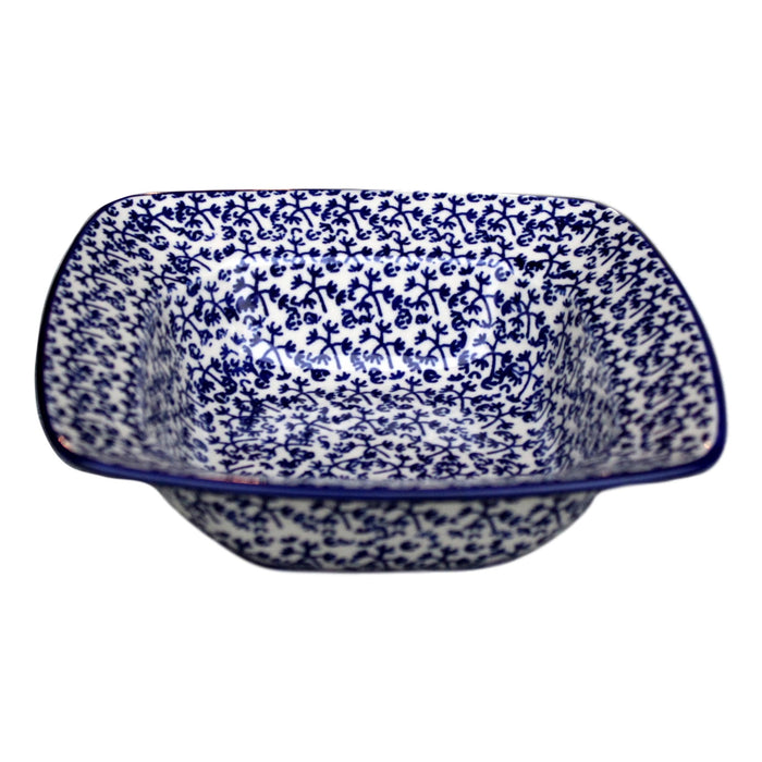 Blue Fern -  Square Bowl  Polish Ceramics - PasParTou