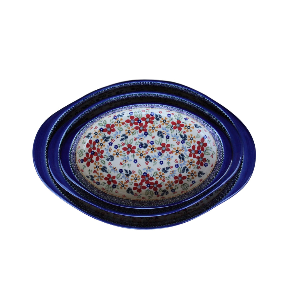 Harvest Floral - Small Oval Baker  Polish Ceramics - PasParTou