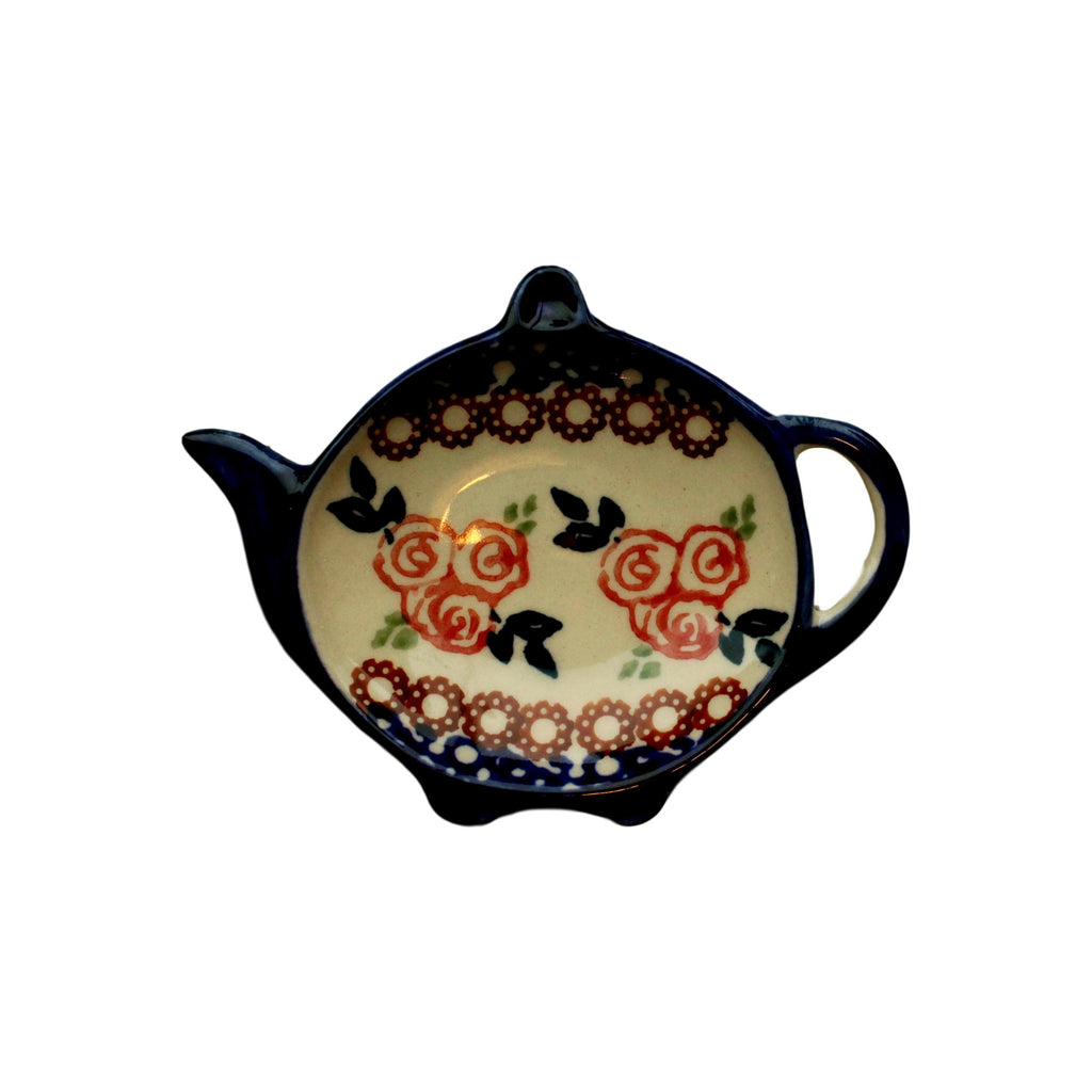 Red Rose - Tea bag Holder  Polish Ceramics - PasParTou