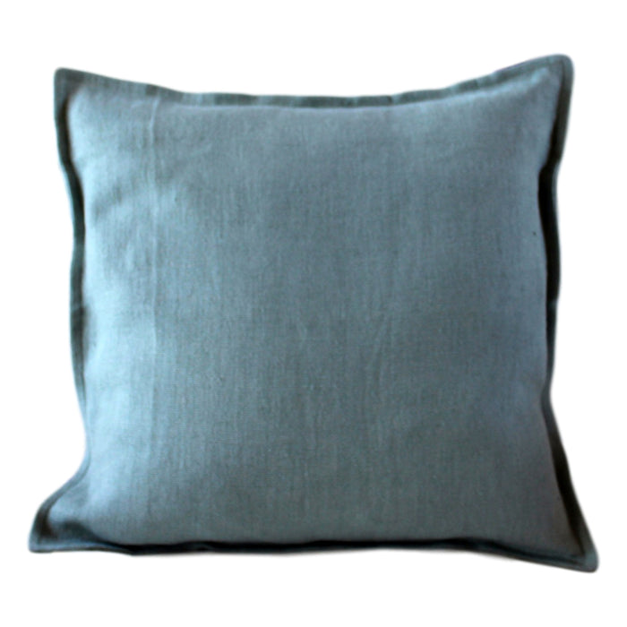 "Pillow Softwashed Linen Teal 16"" x 16""  Pillows - PasParTou"