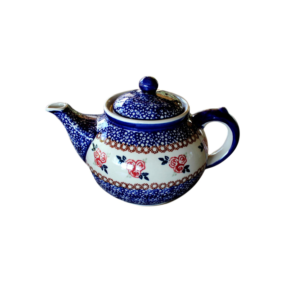 Red Rose - Large Teapot  Polish Ceramics - PasParTou