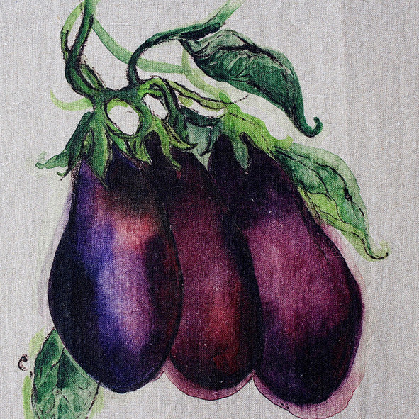 Teatowel Natural Soft Washed Linen with Eggplant Print - PasParTou