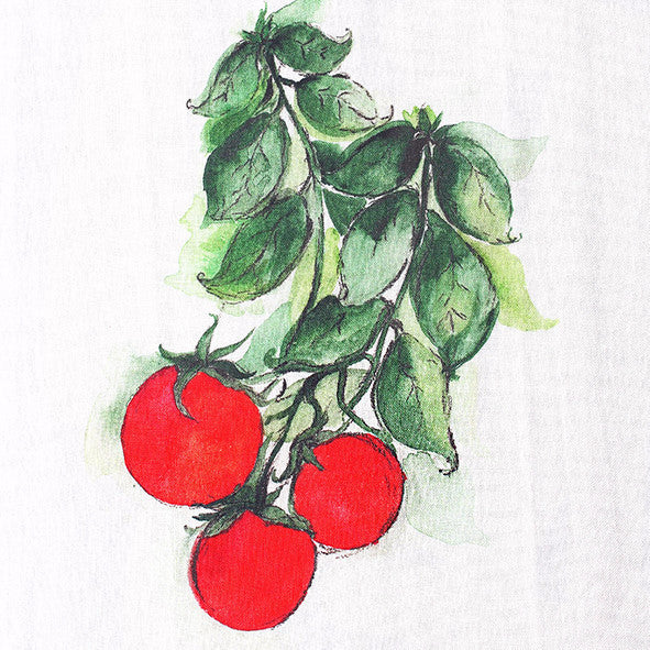 Teatowel Off White Soft Washed Linen with Tomatoes Print - PasParTou