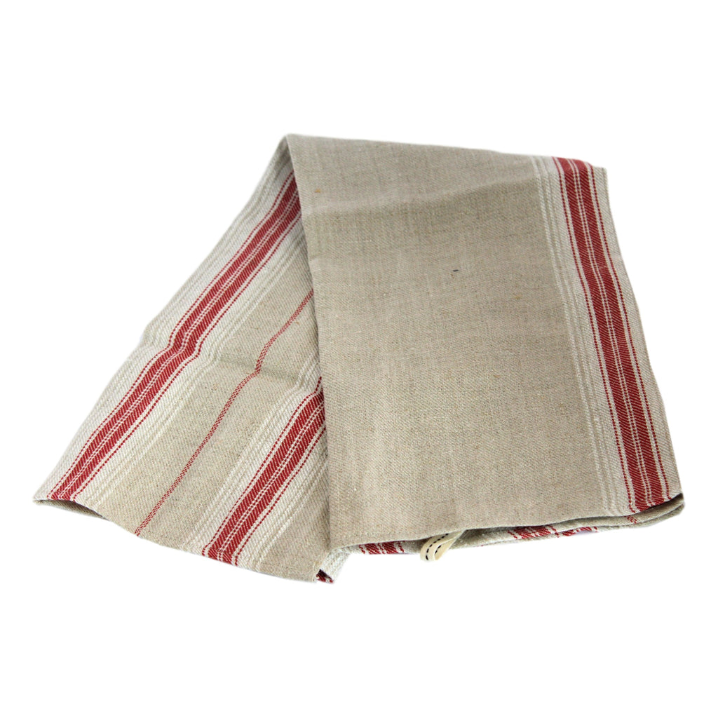 Teatowel - Red Striped Softwashed Linen