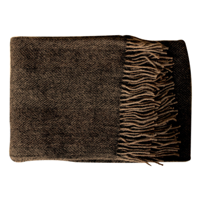 Organic Alpaca/Wool Throw - Chocolate Herringbone - PasParTou