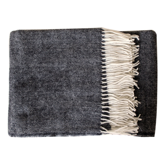 Gray Herringbone Merino/Mohair Throw - PasParTou