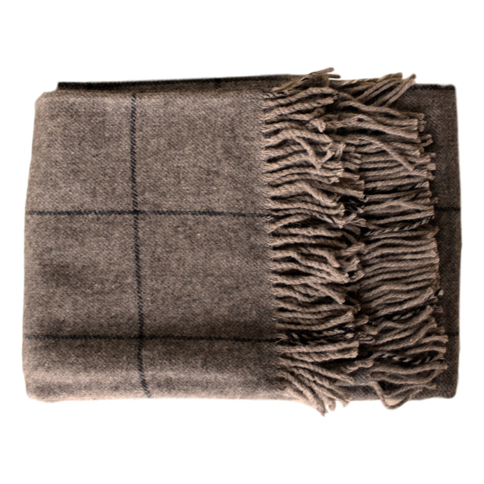 Throw - Black Windowpane - Organic Alpaca/Wool  Throws - PasParTou