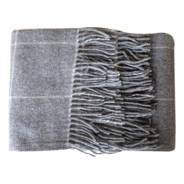 Throw - Cream Windowpane - Organic Alpaca/Wool  Throws - PasParTou