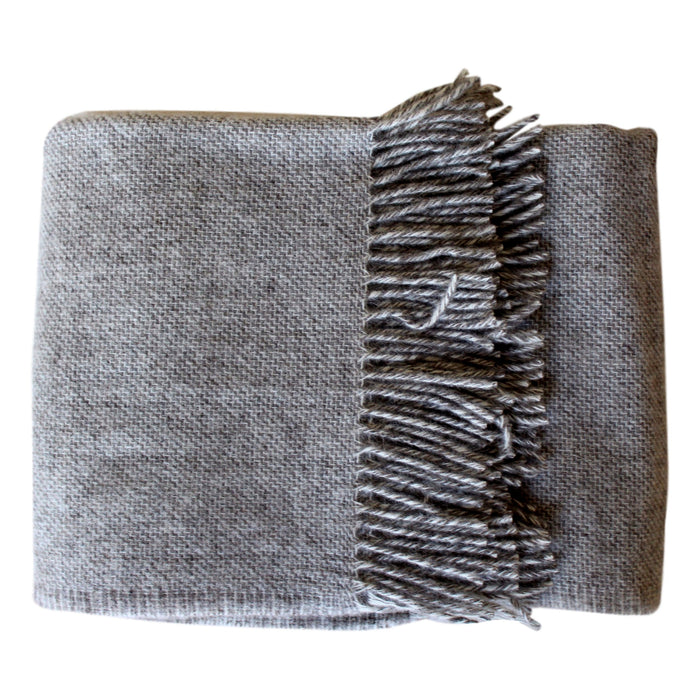 Throw  - Light Grey Sharkskin - Wool  Throws - PasParTou
