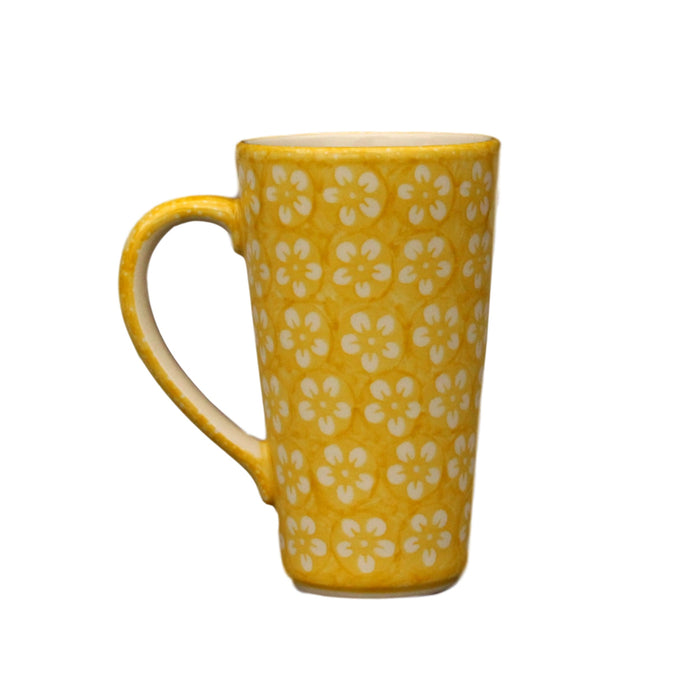 Yellow Flowers - Tall Mug  Polish Ceramics - PasParTou