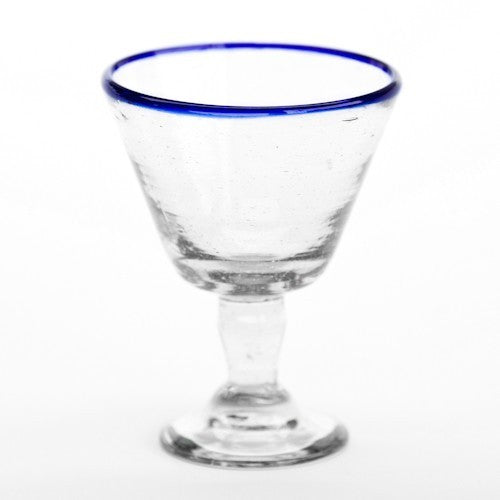 Wine Glass - Blue Rim - Set of 4  Glassware - PasParTou