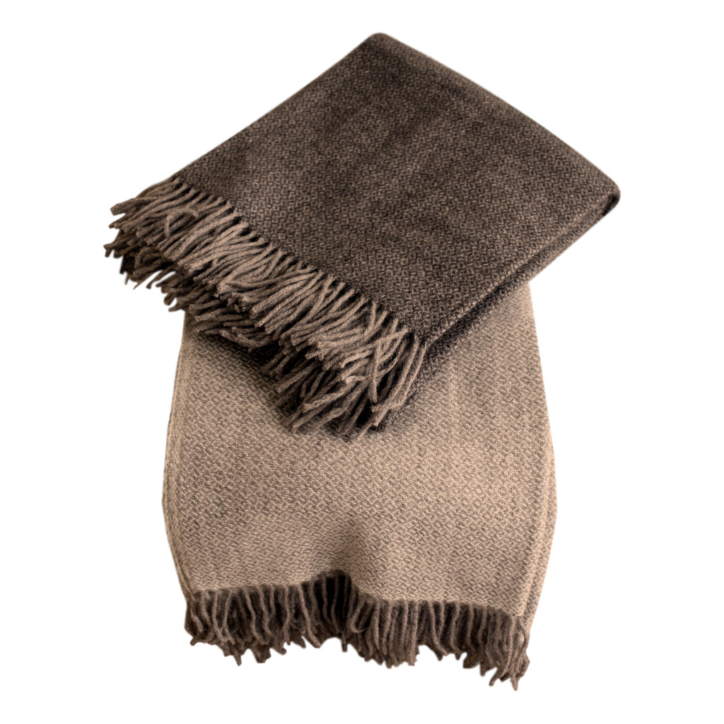 Organic Alpaca/Wool Throw - Dark Brown Diamond - PasParTou