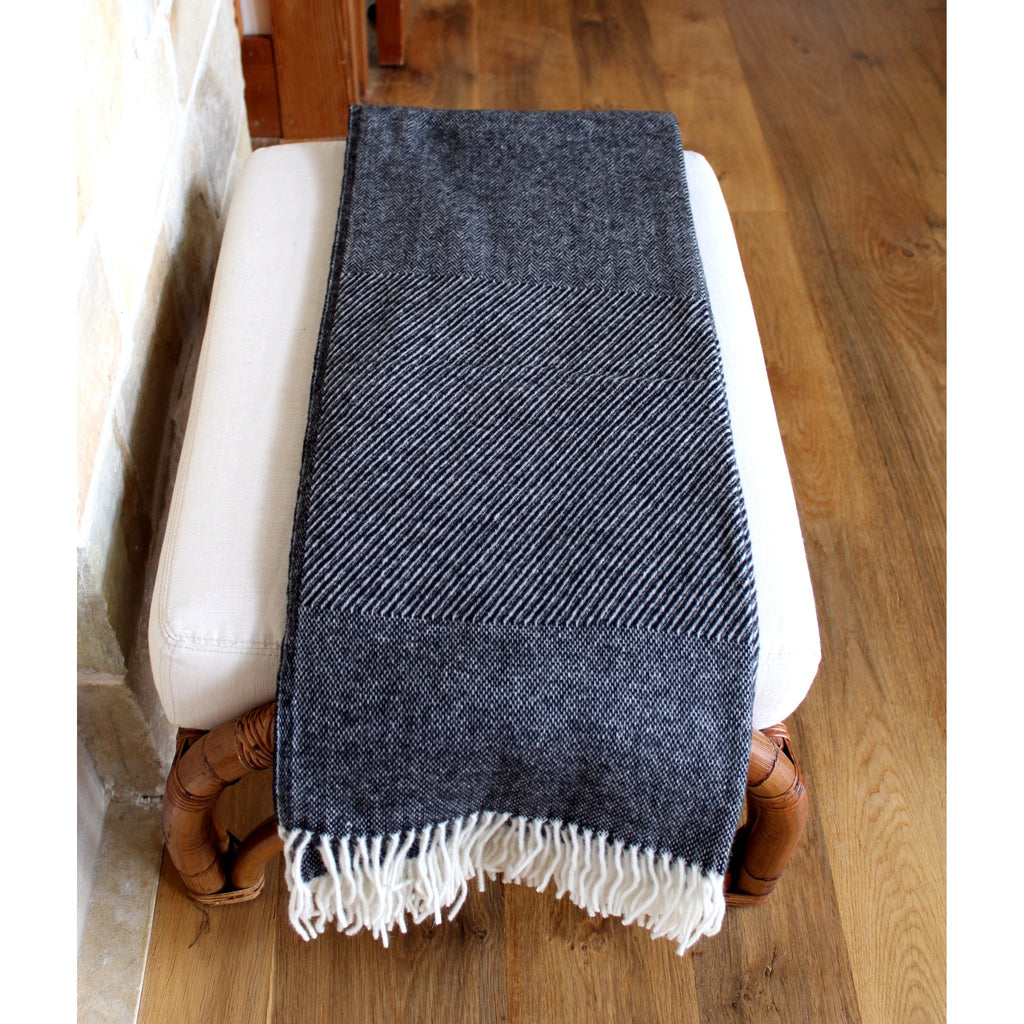 Throw - Black and Grey alternating Sharkskin, Diagonal Stripes and Herringbone patterns - Wool/Mohair  Throws - PasParTou