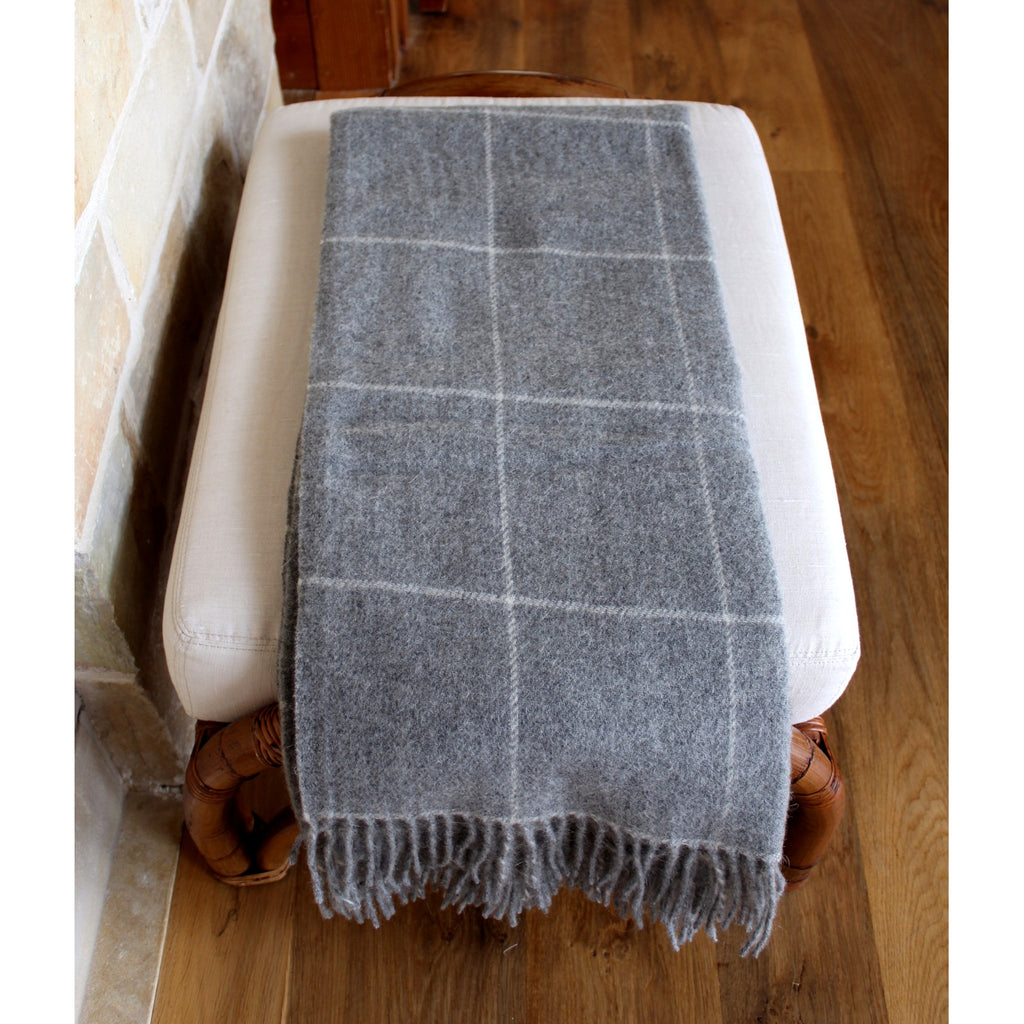 Organic Alpaca/Wool Throw - Cream Windowpane - PasParTou