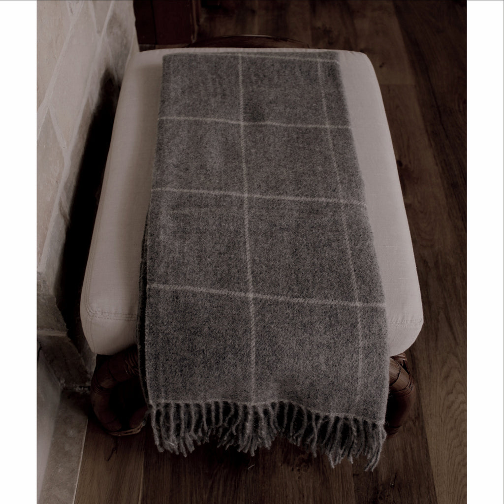 Throw - White Windowpane on Dark Grey - Alpaca/Wool  Throws - PasParTou