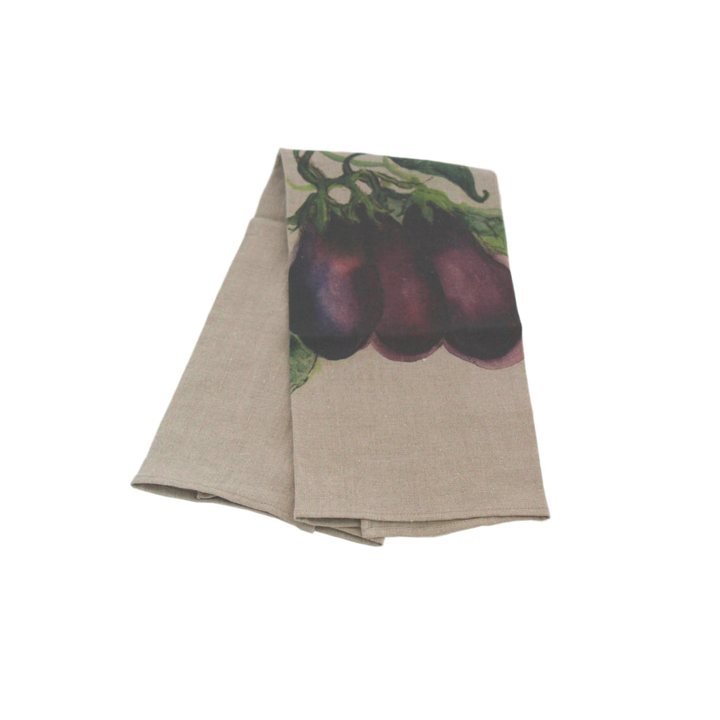Teatowel Natural Soft Washed Linen with Eggplant Print  Teatowel - PasParTou