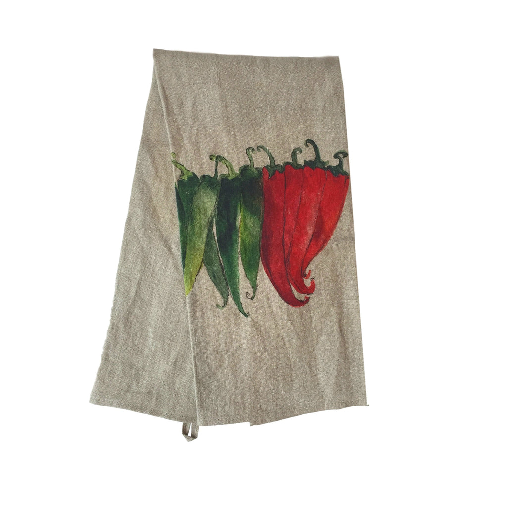 Teatowel Natural Soft Washed Linen with Pepper Print - PasParTou