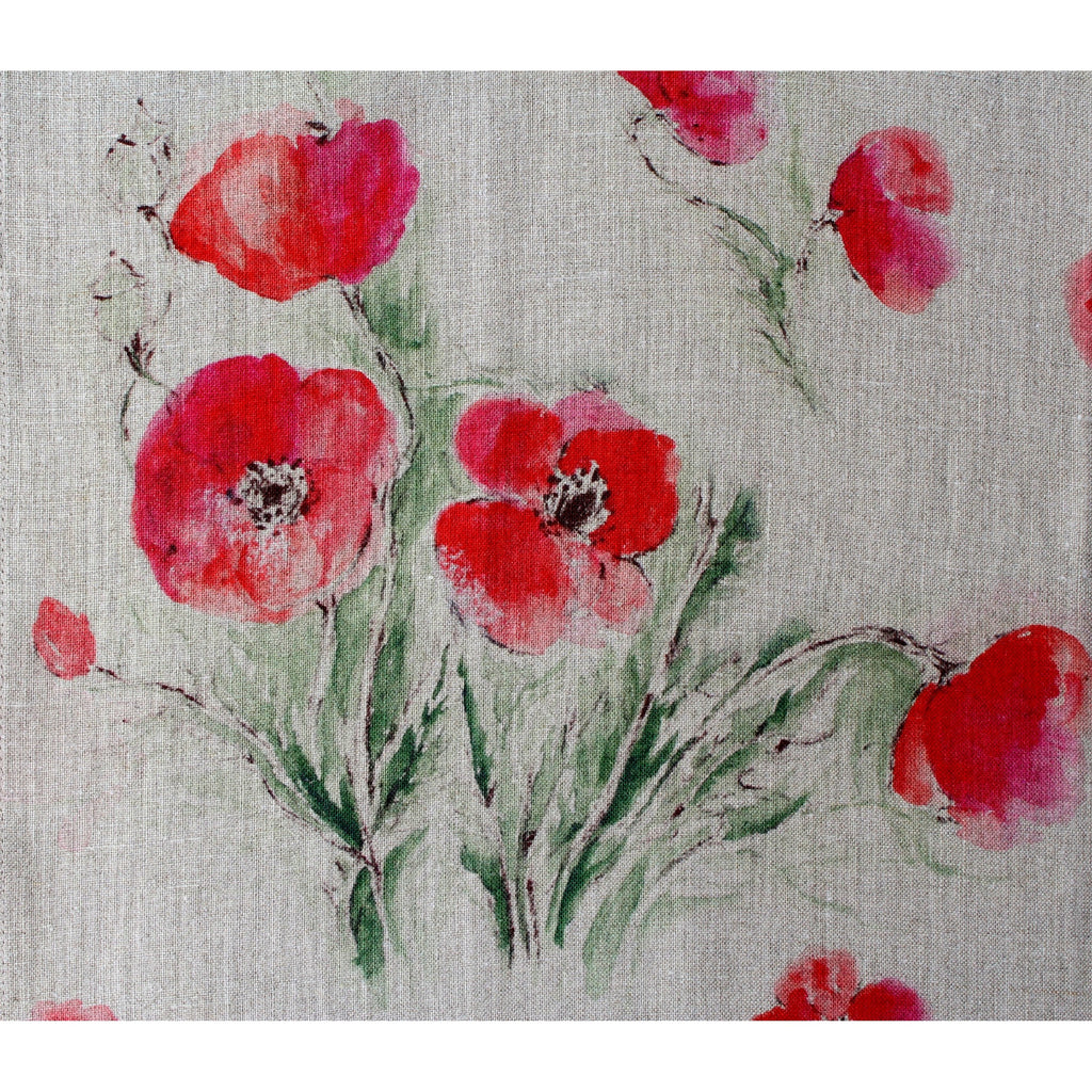 Teatowel Natural Soft Washed Linen with Poppy Print - PasParTou