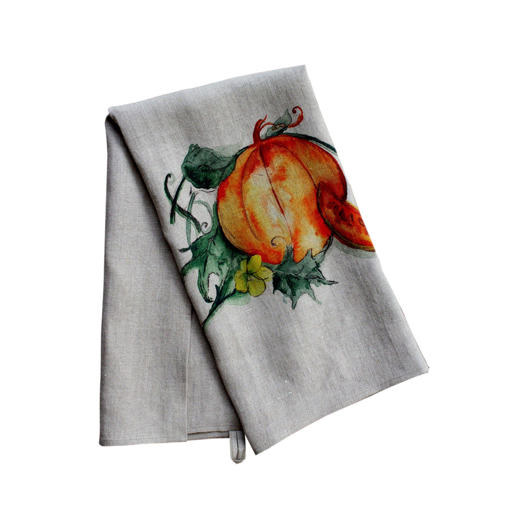 Teatowel Natural Soft Washed Linen with Pumpkin Print - PasParTou