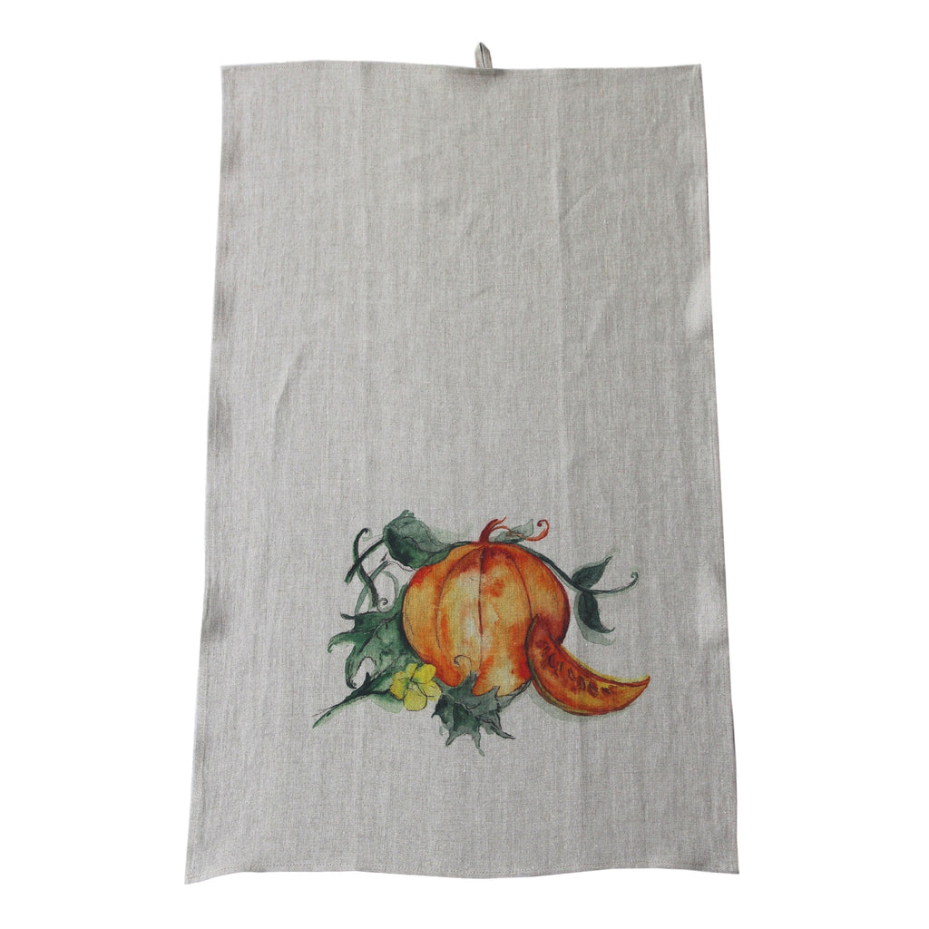 Teatowel Natural Soft Washed Linen with Pumpkin Print  Teatowel - PasParTou