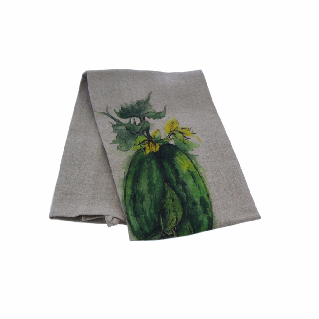 Teatowel Natural Soft Washed Linen with Squash Print - PasParTou