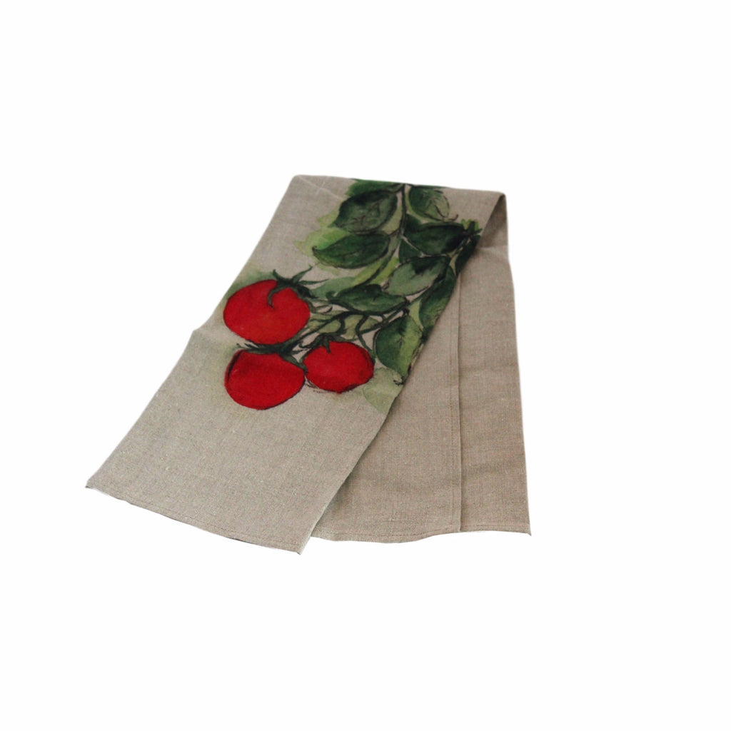 Teatowel Natural Soft Washed Linen with Tomato Print - PasParTou