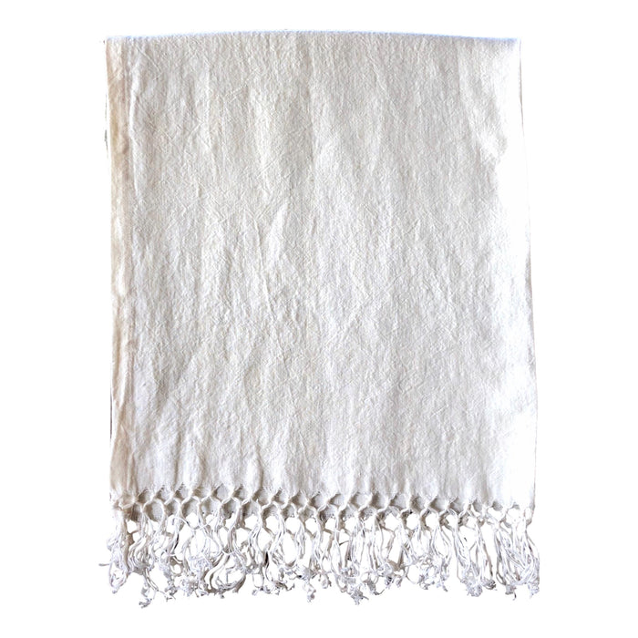 "Runner - Softwashed Linen Fringed Runner - off white - 34"" wide  runners - PasParTou"