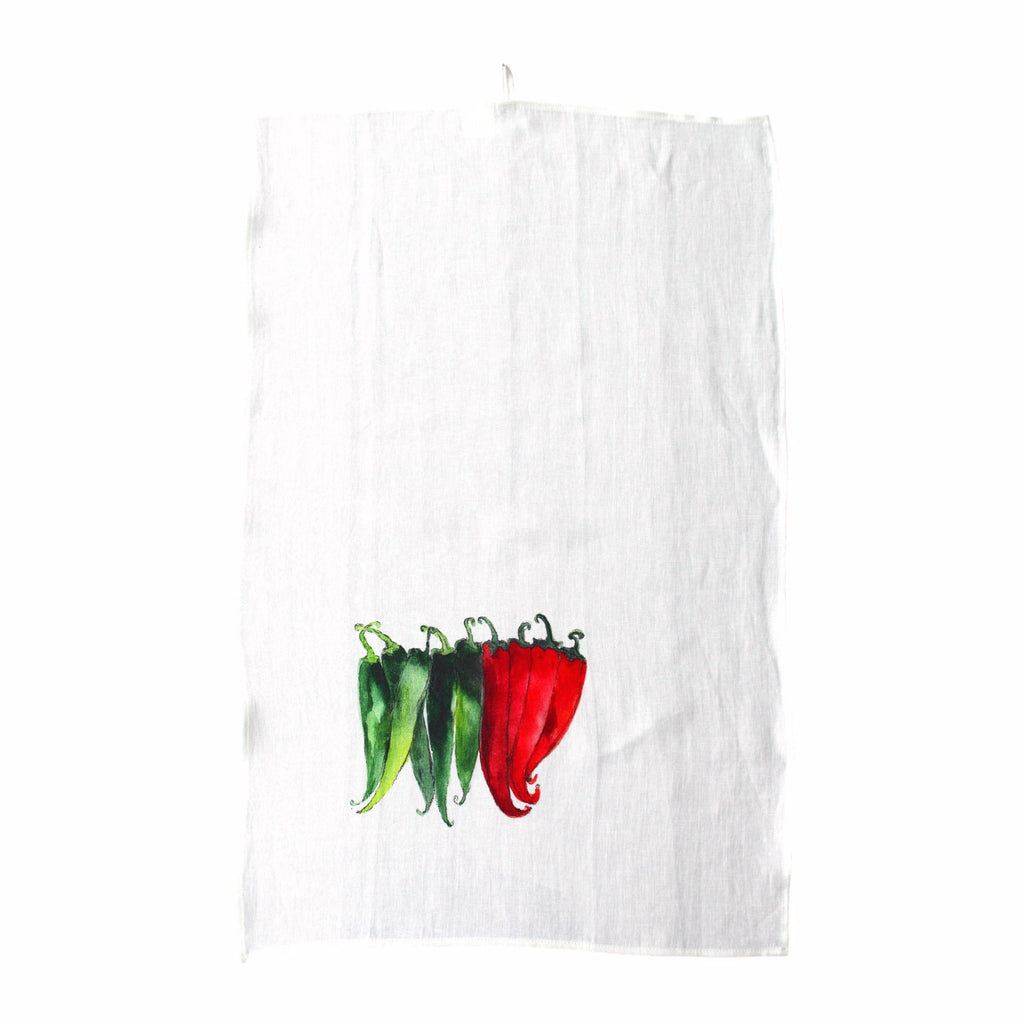 Teatowel Off White Soft Washed Linen with Pepper Print - PasParTou