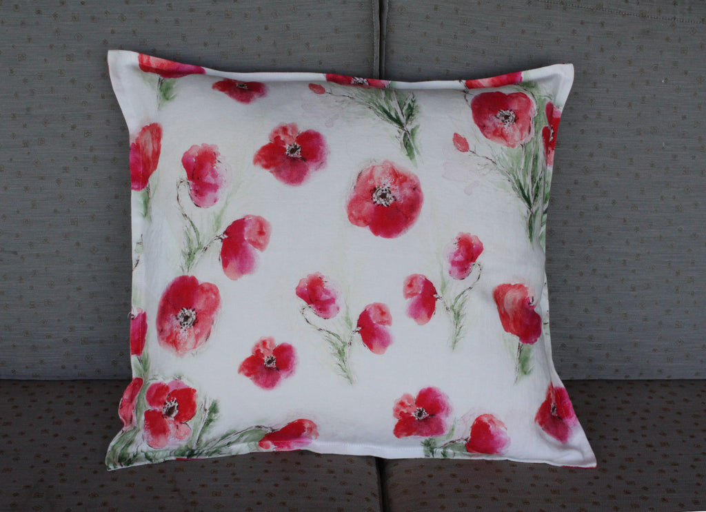 Pillow Natural Soft Washed Linen with Poppy Print 20 x 20