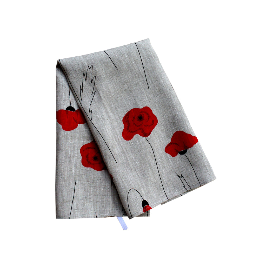 Teatowel Natural Linen with Poppies - PasParTou