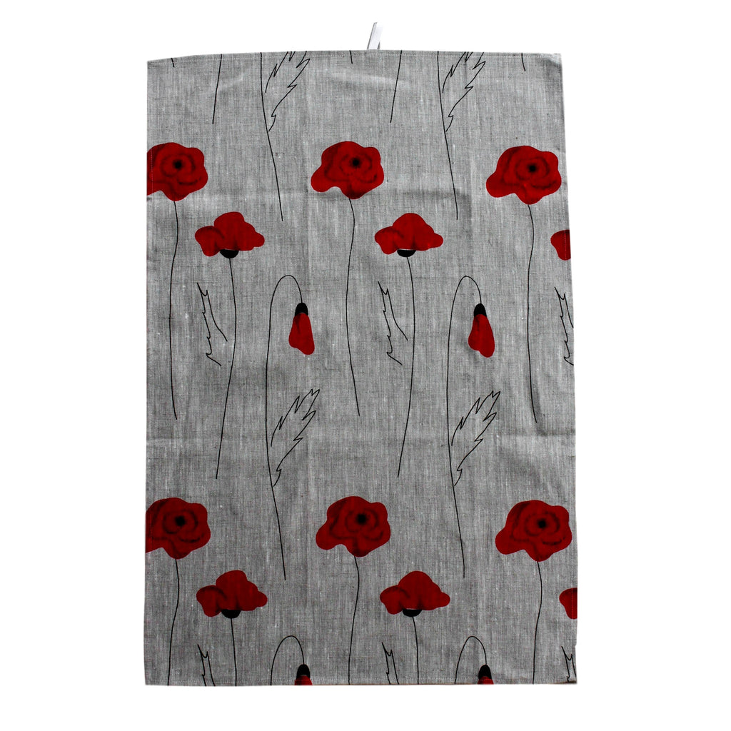 Teatowel Natural Linen with Poppies  Teatowel - PasParTou