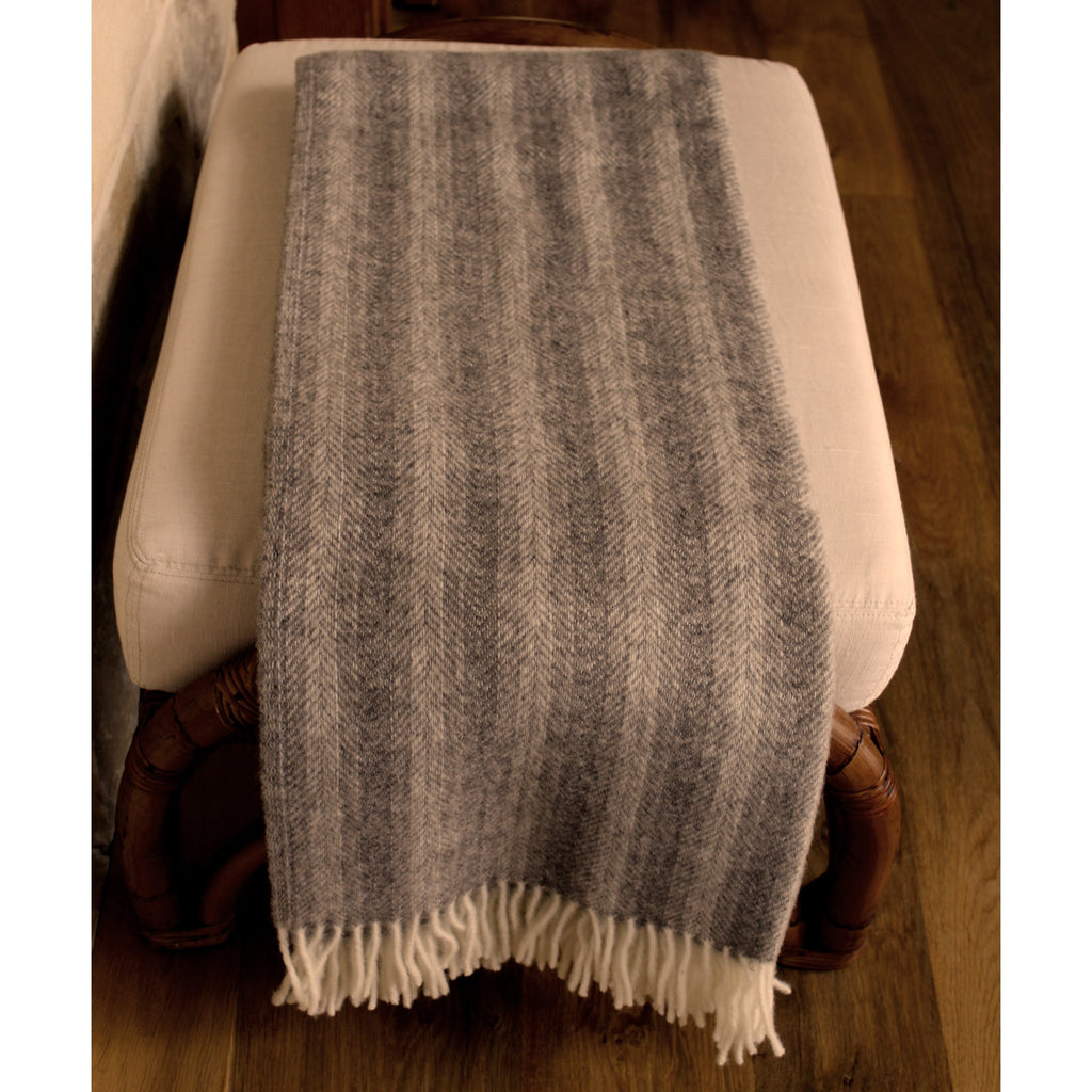 Shades of Gray Herringbone Wool Throw - PasParTou