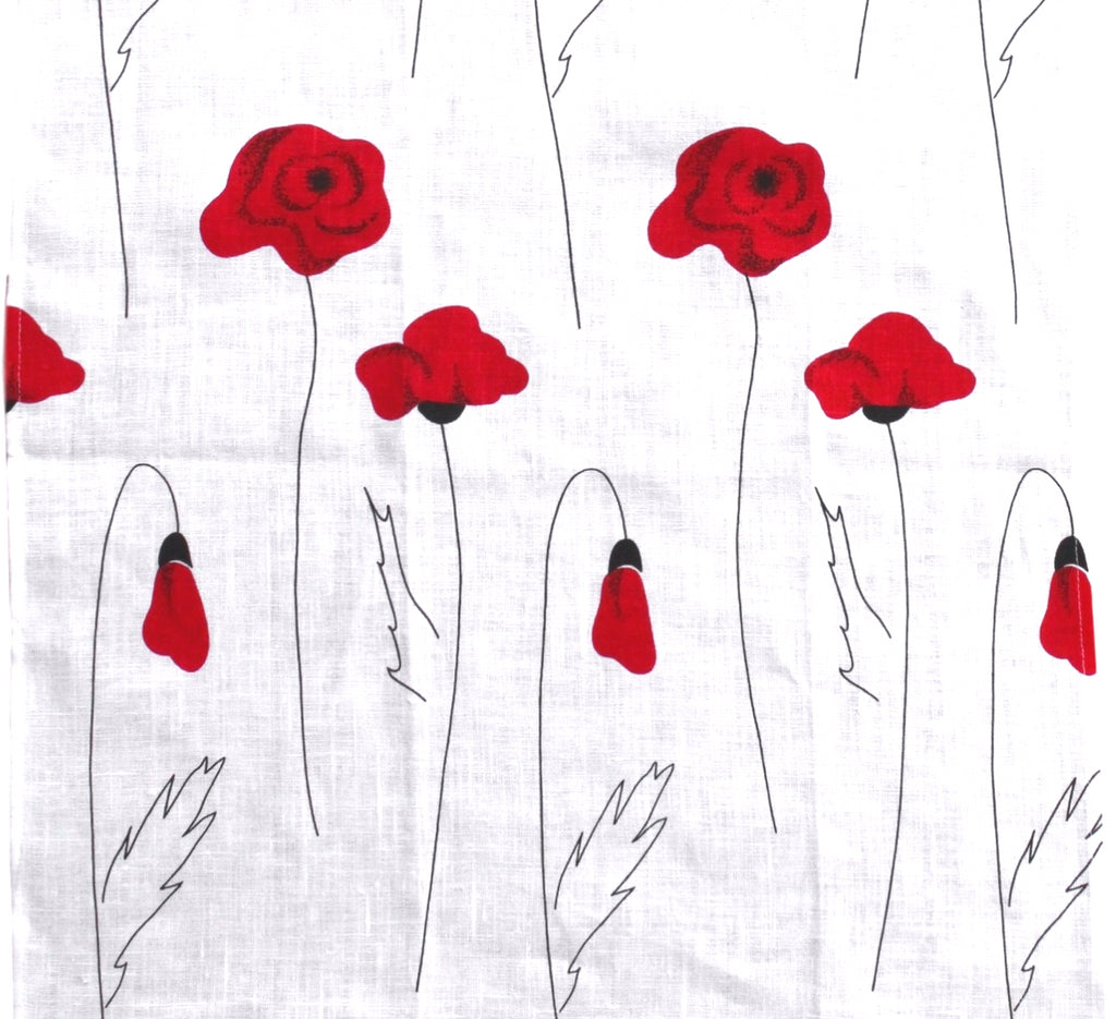 Teatowel White Linen with Poppies  Teatowel - PasParTou