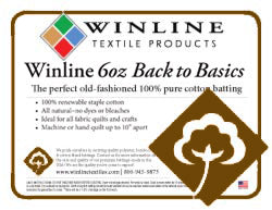 "Winline 6oz 100% Cotton Batting No Scrim Twin 72"" x 96"" (6' x 8')"