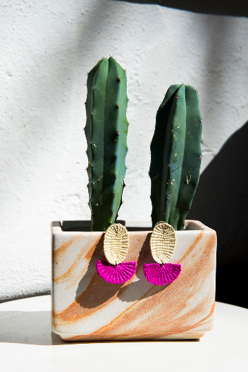 Handmade Woven Junco Boho Earrings / Off-White, Pink - Eye Heart Curated
